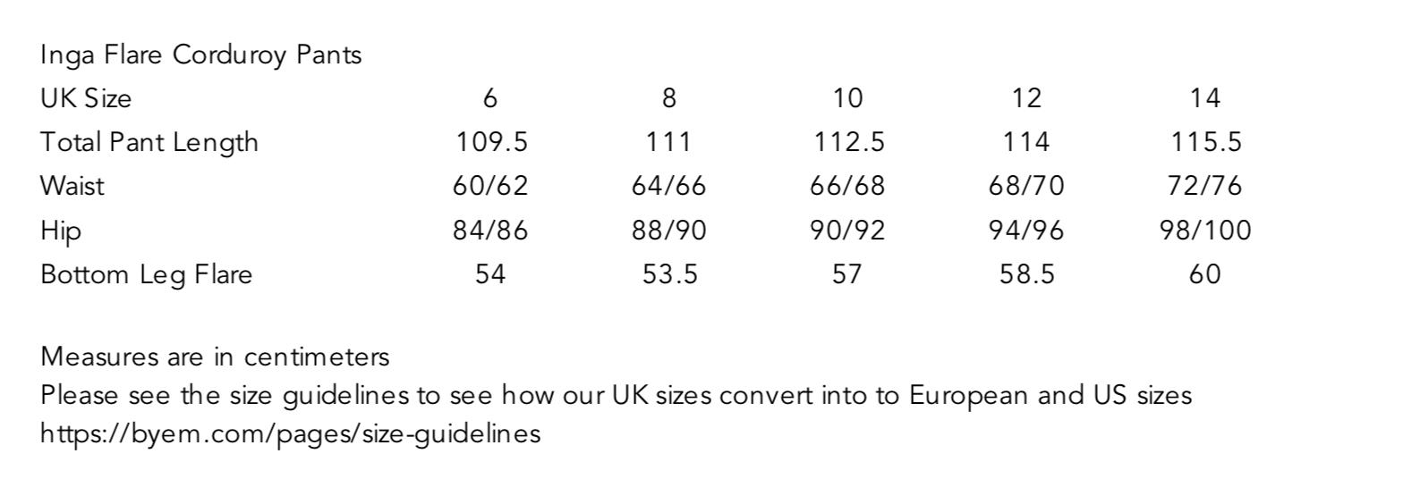 Inga Flare Corduroy Pants Size Guide