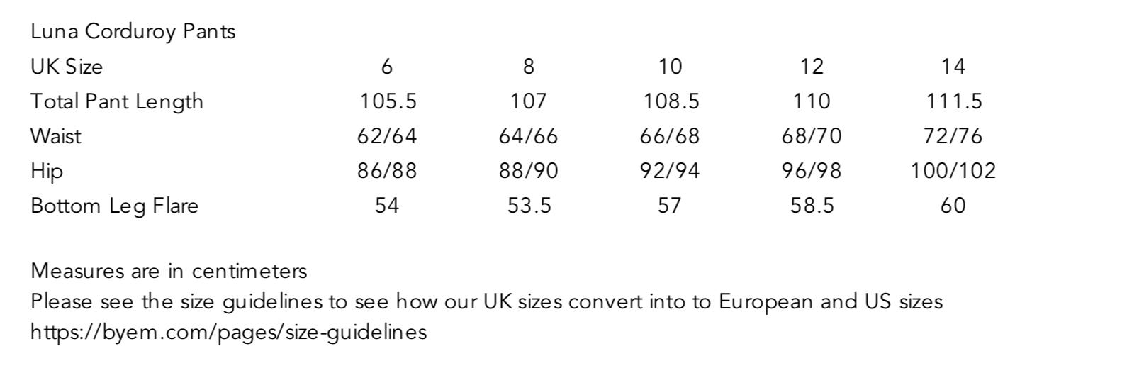 Luna Corduroy Pants Size Guide