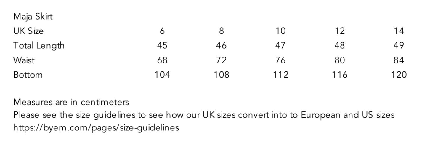 Maja Corduroy Skirt Size Guide