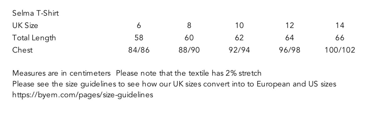 Selma T-Shirt Size Guide