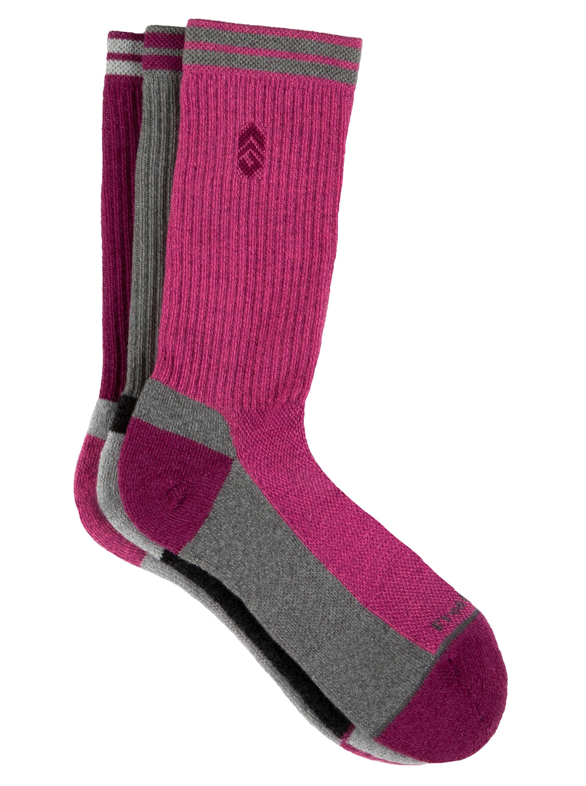 Free Country Women's Basic Varsity Stripe Crew Socks - Pink - 6-10