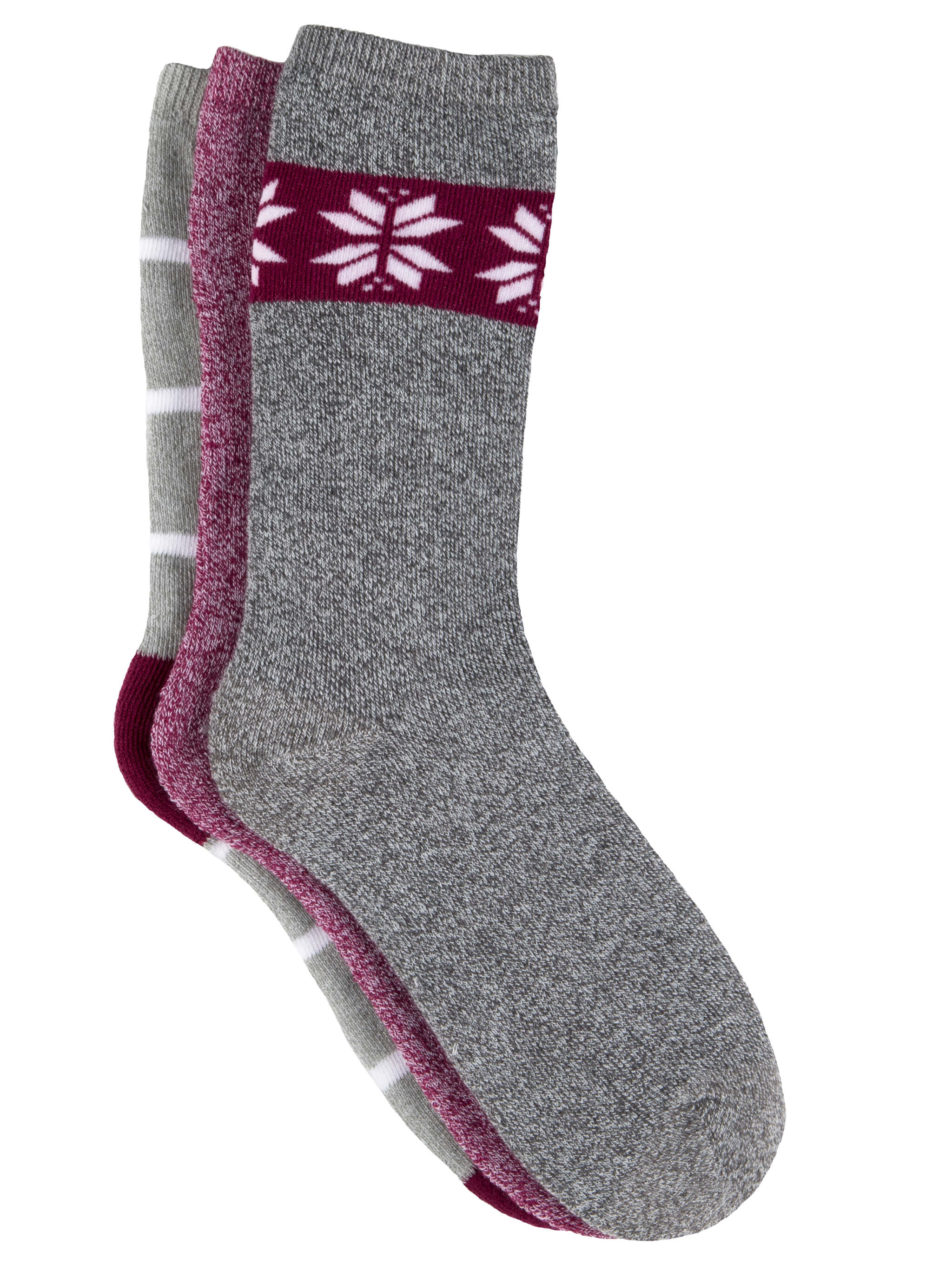 Free Country Women's Fair Isle Full Cushion Crew Socks - Grey