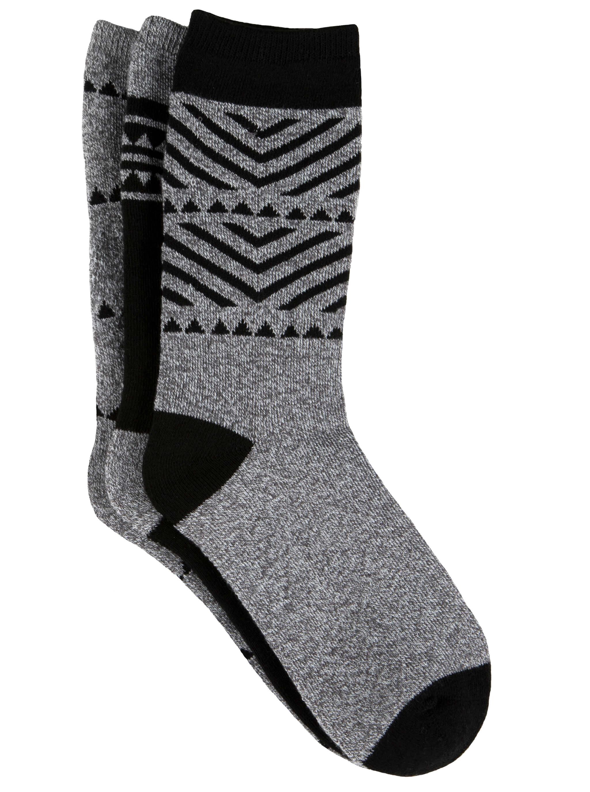 Free Country Women's Geo Basic Full Cushion Crew Socks - Grey