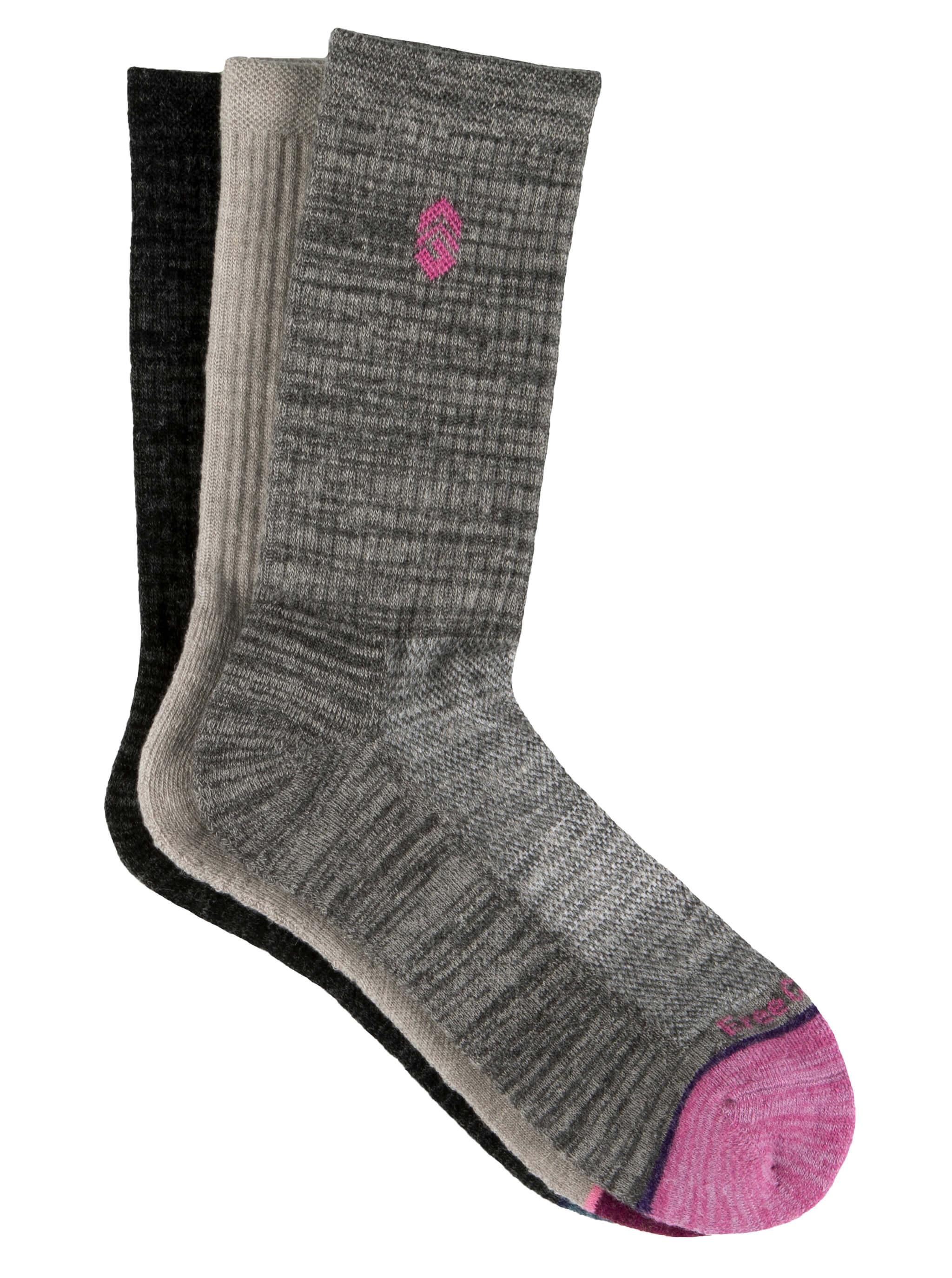 Free Country Women's Wool-Blend Basic Toe Pop Crew Socks - Grey