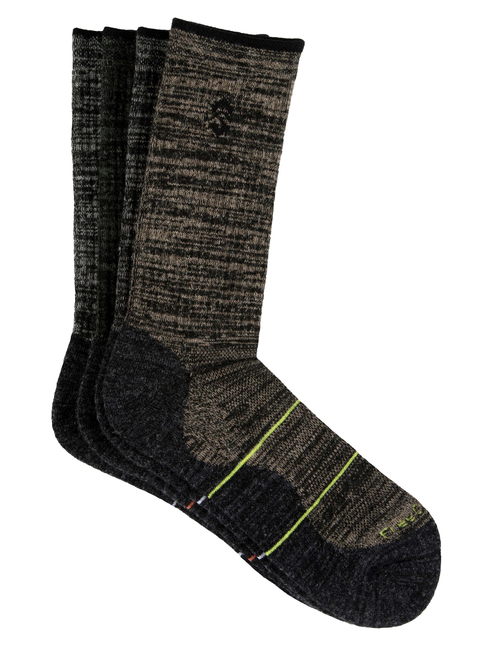 Free Country Men's Wool-Blend Black Marl Crew Socks - Black