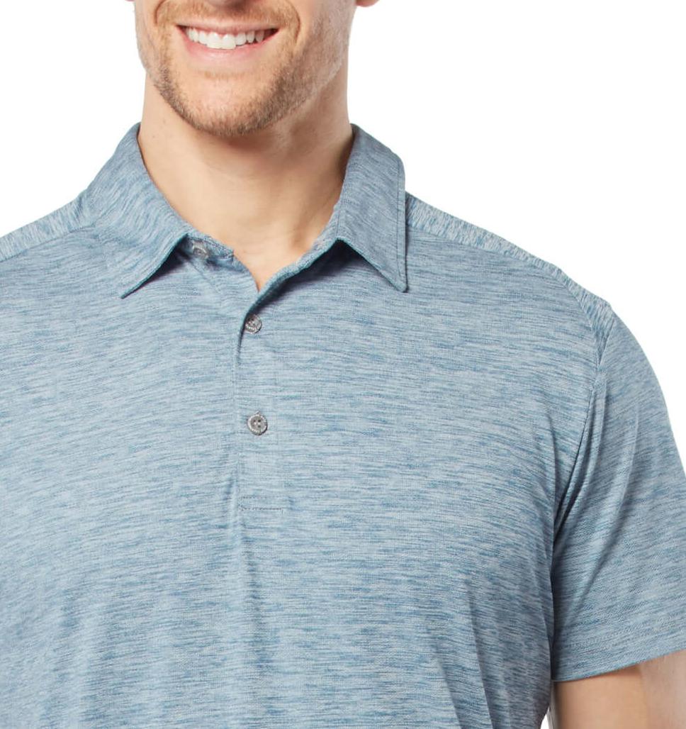 Free Country Men's Active Stretch Melange Polo Shirt - Indigo - S