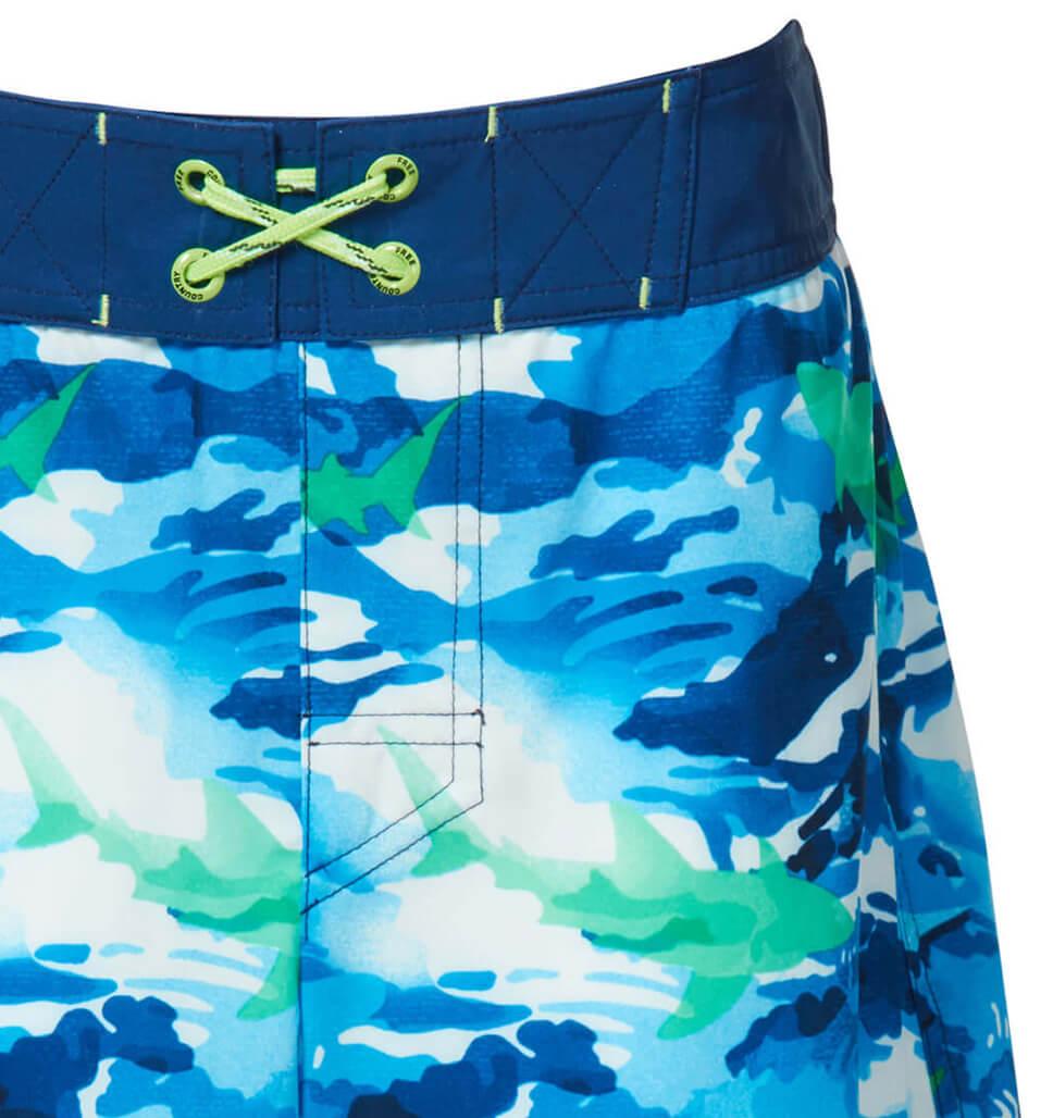 Free Country Little Boys' Shark Zone Board Shorts - Navy - 7