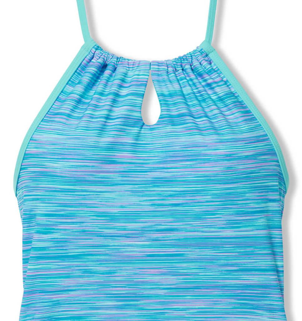 Little Girls' 2-Piece Space Dye Halter Tankini and Short Swim Set