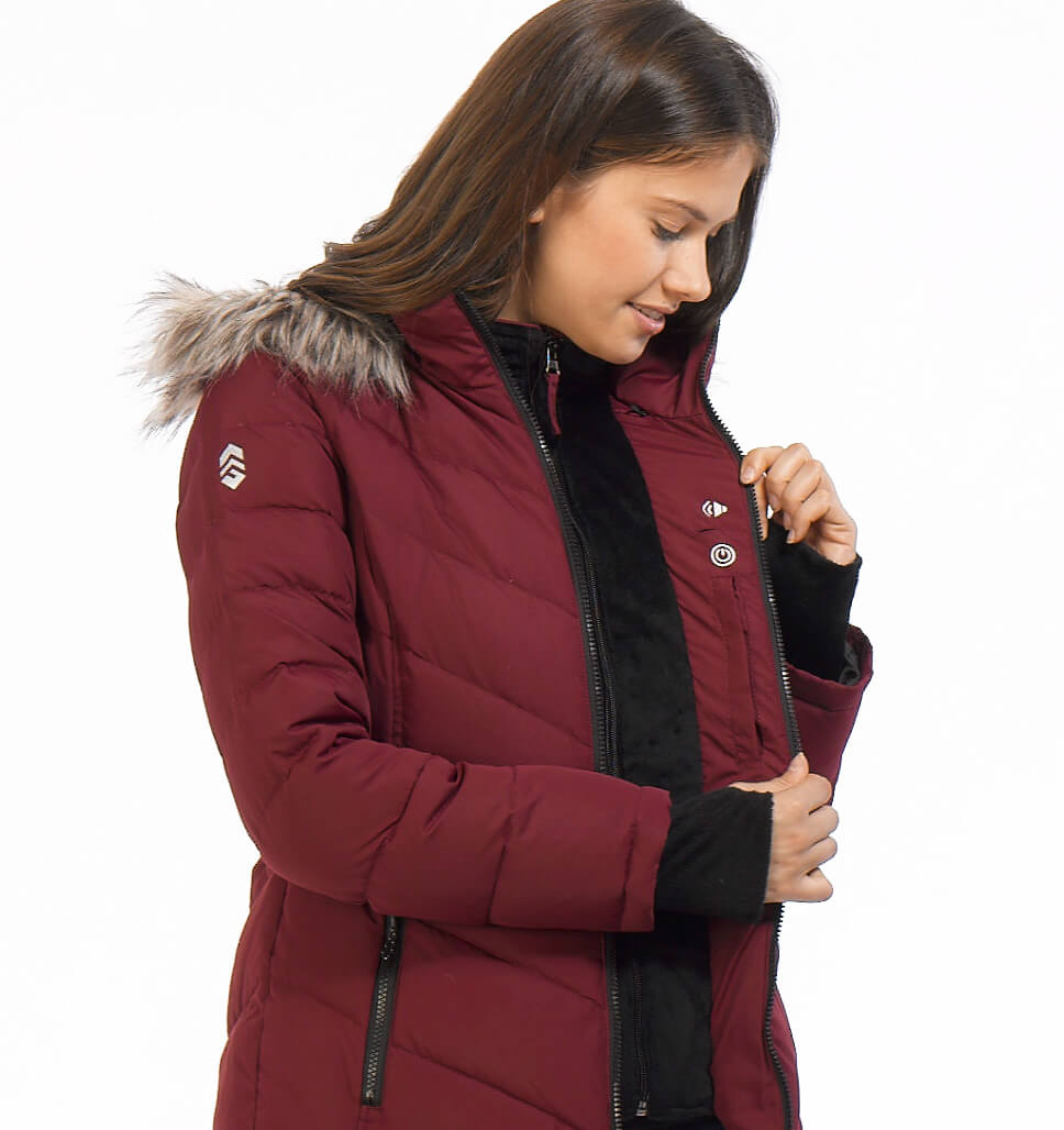 Free Country Women's Plus Size Gale Power Down Jacket - Deep Cranberry