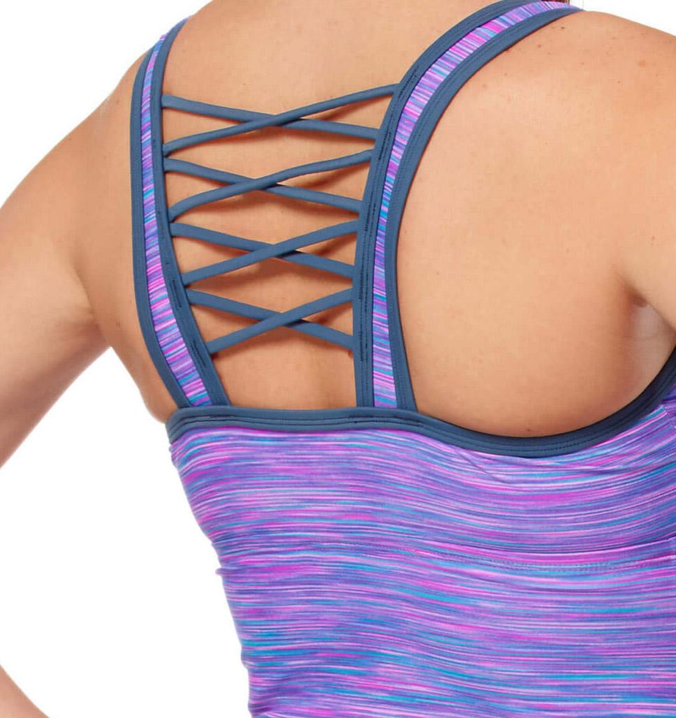 Free Country Women's Plus Size Reflective Space Dye Criss Cross Back Tankini Top - Ruby - 1X