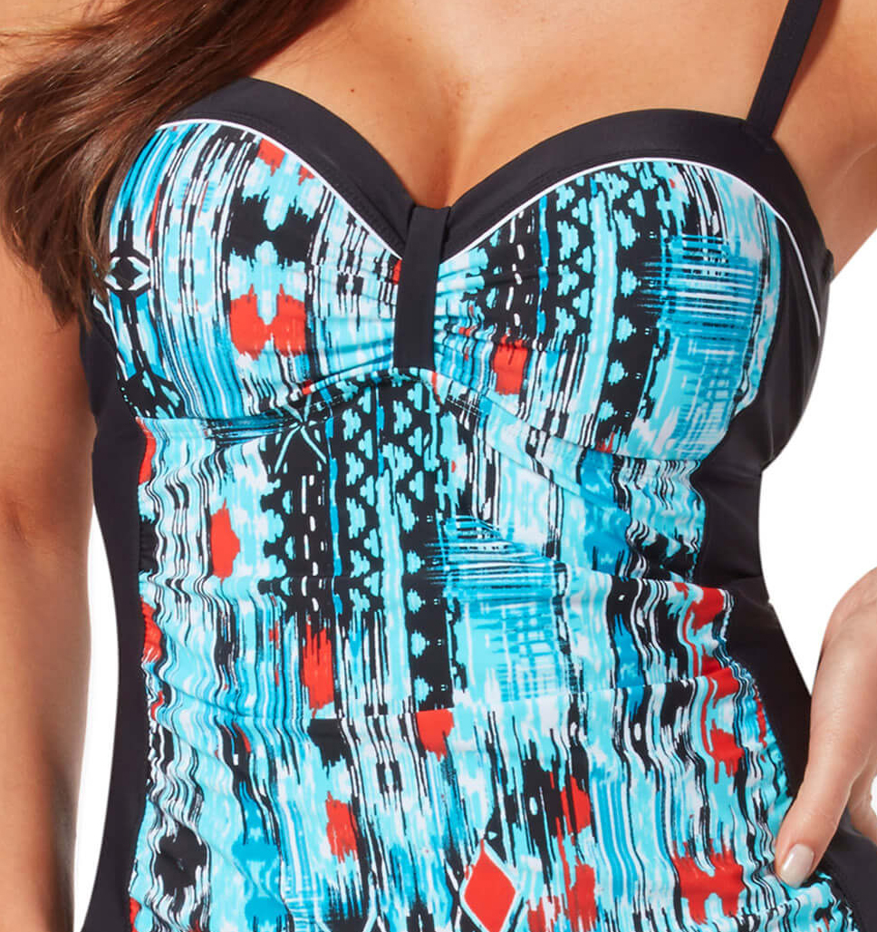 Women's Plus Size Sun Rays Bandeaux Tankini Top