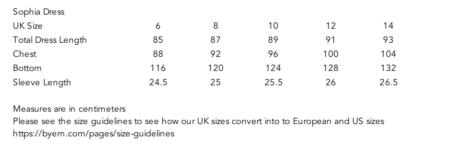 Sofia Dress Size Guide