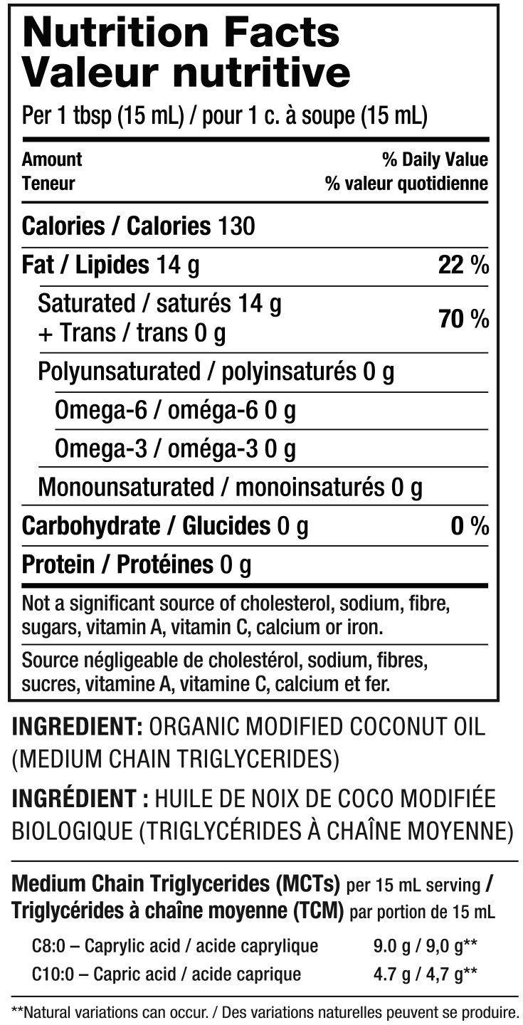 Organic MCT Oil Nutrition Facts