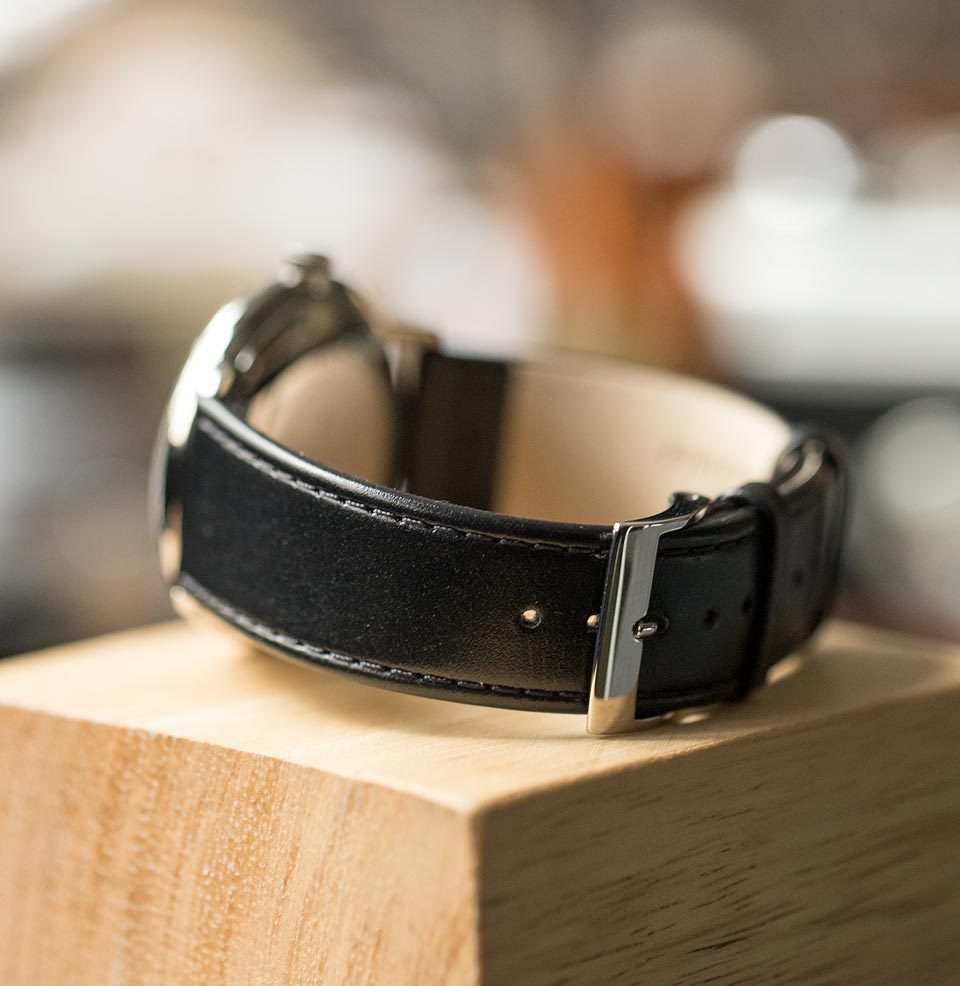 Max Bill Automatic 20mm Black Leather Strap