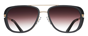 Matsuda M3023 is a combination aviator sunglass with gold metal eyewire front and matte black acetate insert with brown gradient lenses