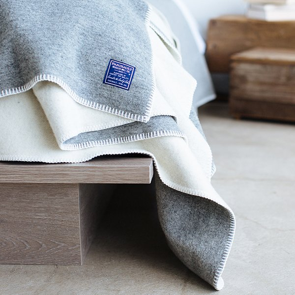 image of Summit Solid Reversible Olive/Gray Twin Wool Blanket