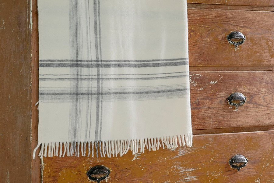 image of Border Plaid Wool Throw