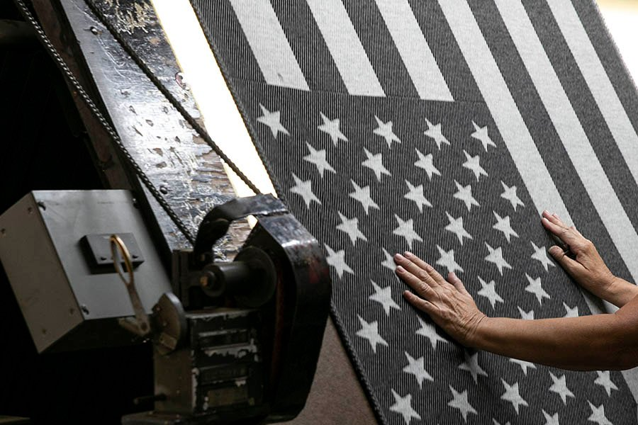 image of American Flag Black/Heather Gray Wool Throw