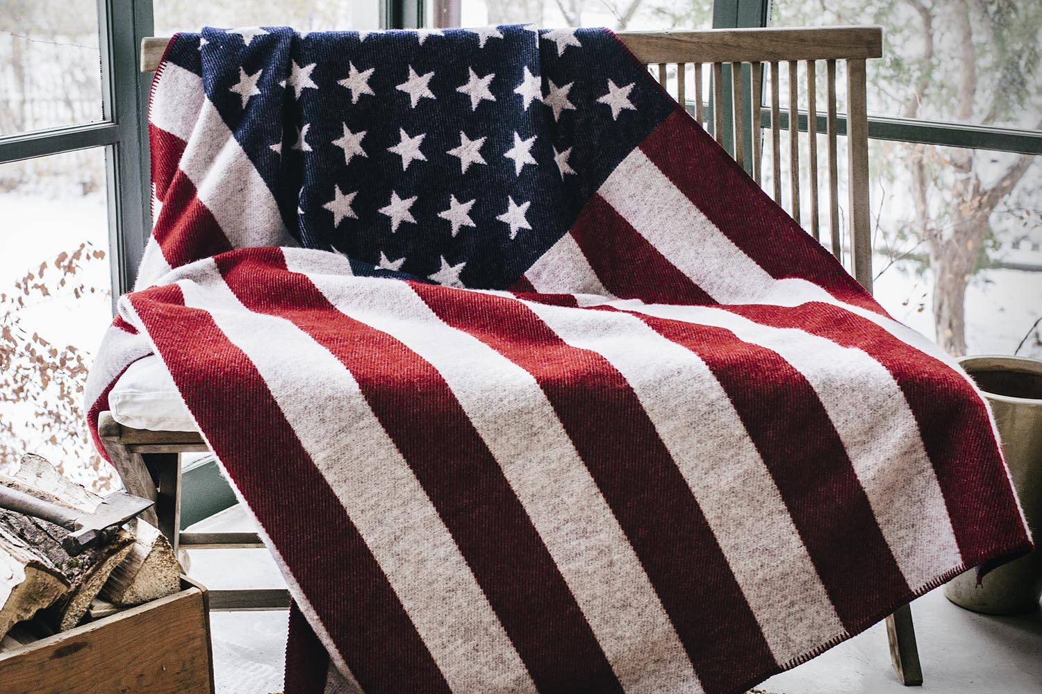 image of American Flag Red/White/Navy Wool Throw