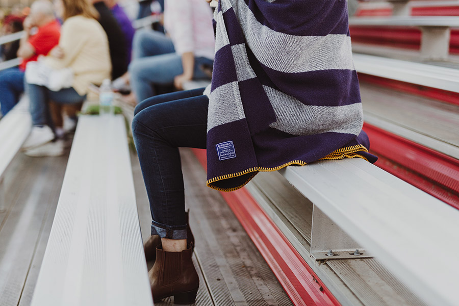 image of Purple Tailgating Blanket with Gold Edge