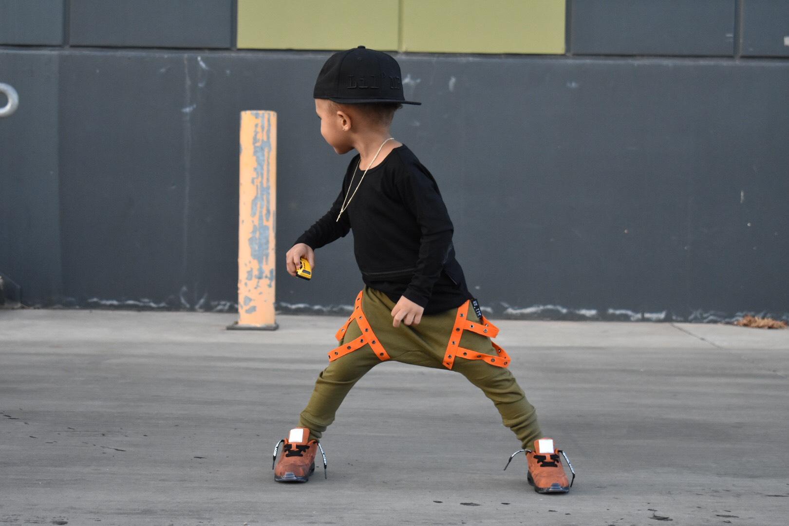 LIL' COMMANDO'S, HAREM PANTS / JOGGERS - Khaki with orange tape