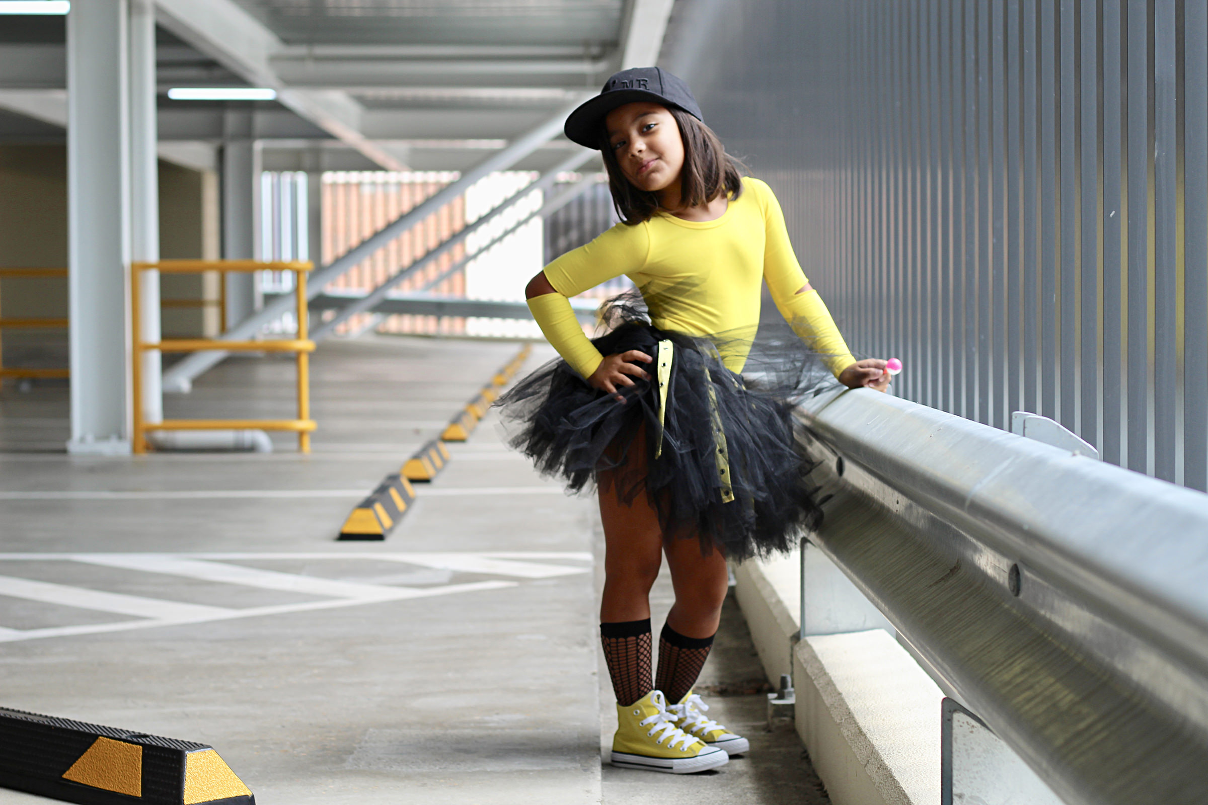 TooToo Cool skirt- Black with Yellow Eyelet Tape