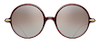 Matsuda M9012 a round acetate sunglass in color bordeaux burgundy with gold plated sterling silver temples
