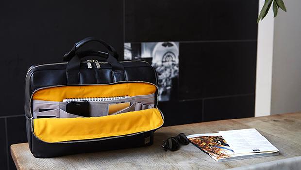 """KNOMO Newbury Leather Laptop Briefcase - 15"""" Lifestyle Image   knomo.com"""