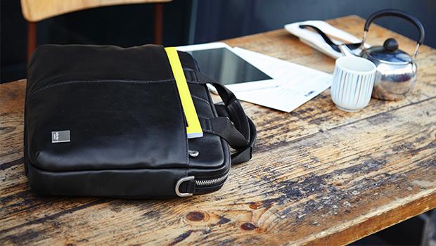 "KNOMO Stanford Leather Laptop Briefcase - 13"" Lifestyle Image | knomo.com"