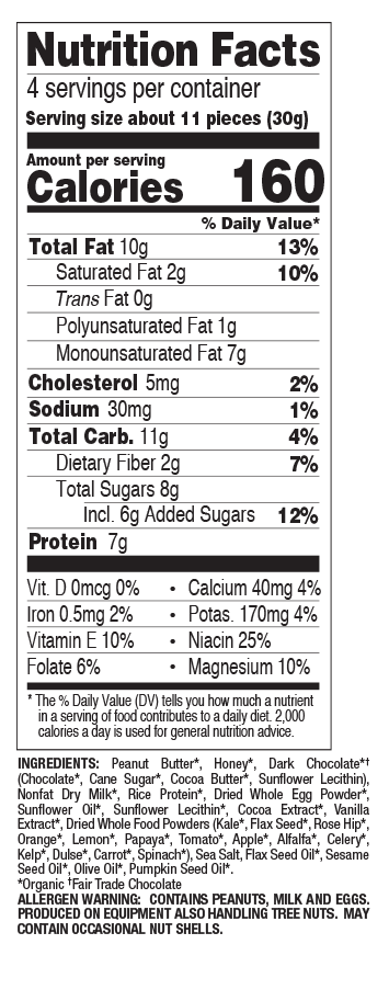 Chocolate Chip Peanut Butter Bites nutritional information