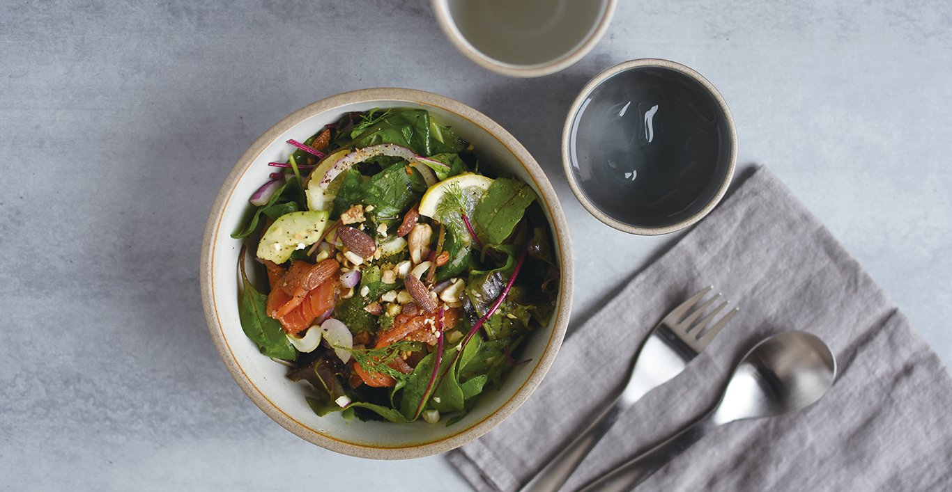 NORI bowl with salad and NORI tumbler with beverage