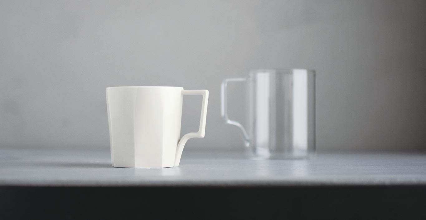 OCT mug in white and coffee server