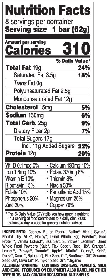 Salted Caramel nutritional information