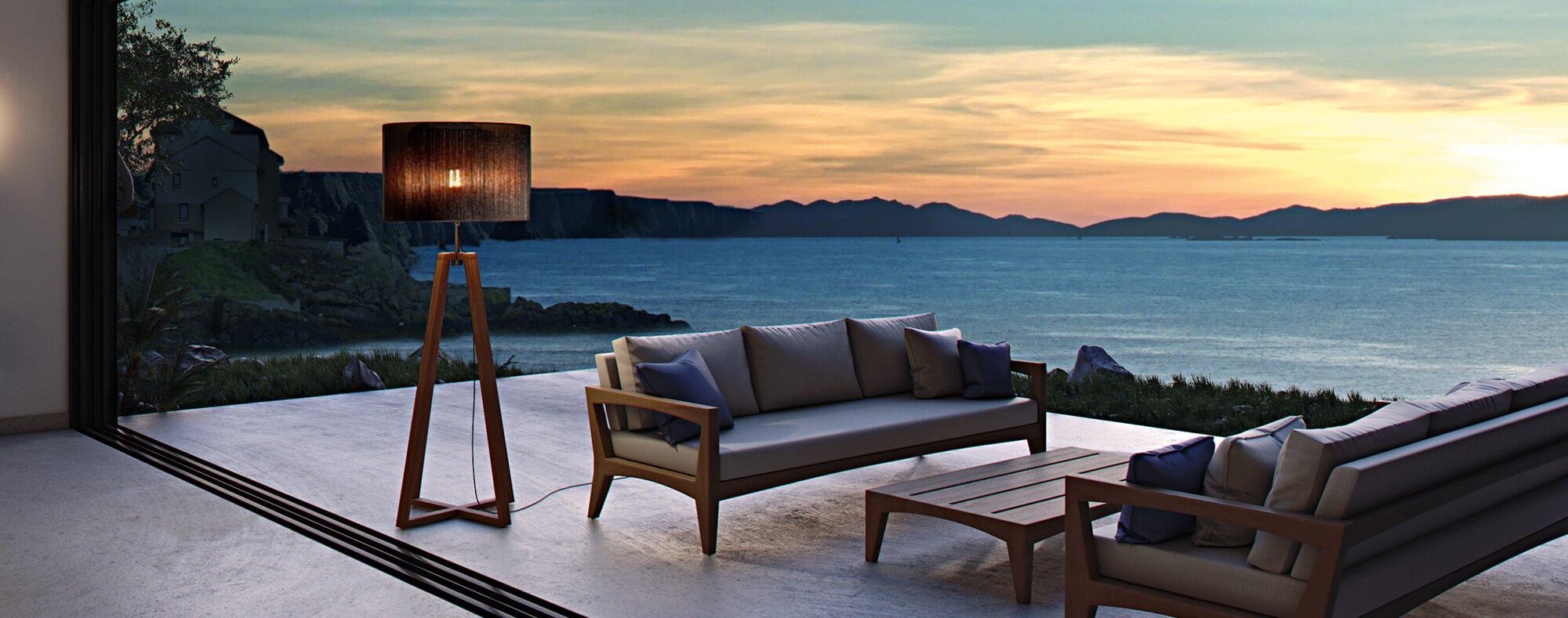 Luxury outdoor sofa set by the ocean