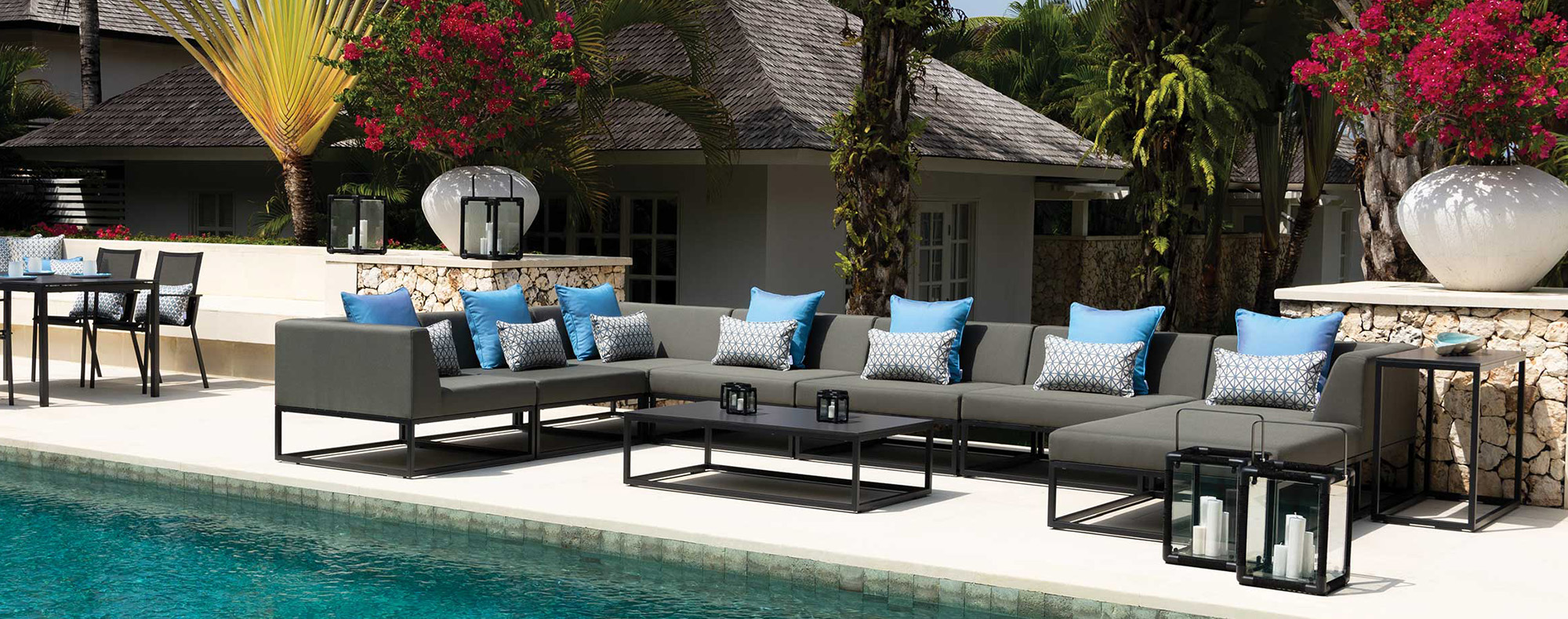 Luxury outdoor sofa set by the pool