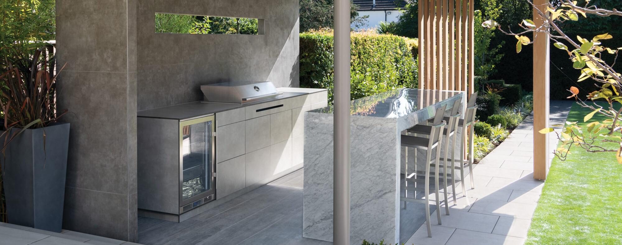 Luxury concrete outdoor kitchen