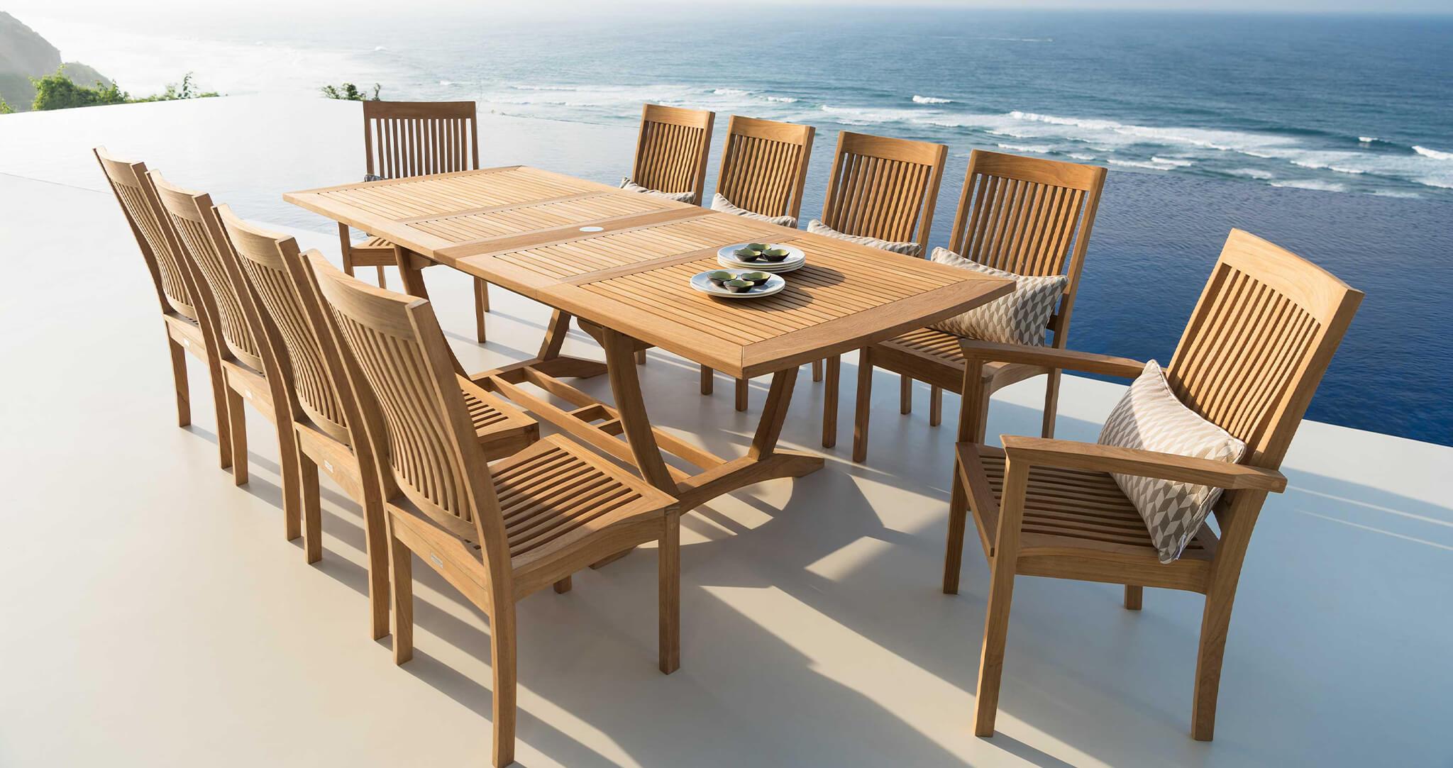 Burnham luxury outdoor dining chair set