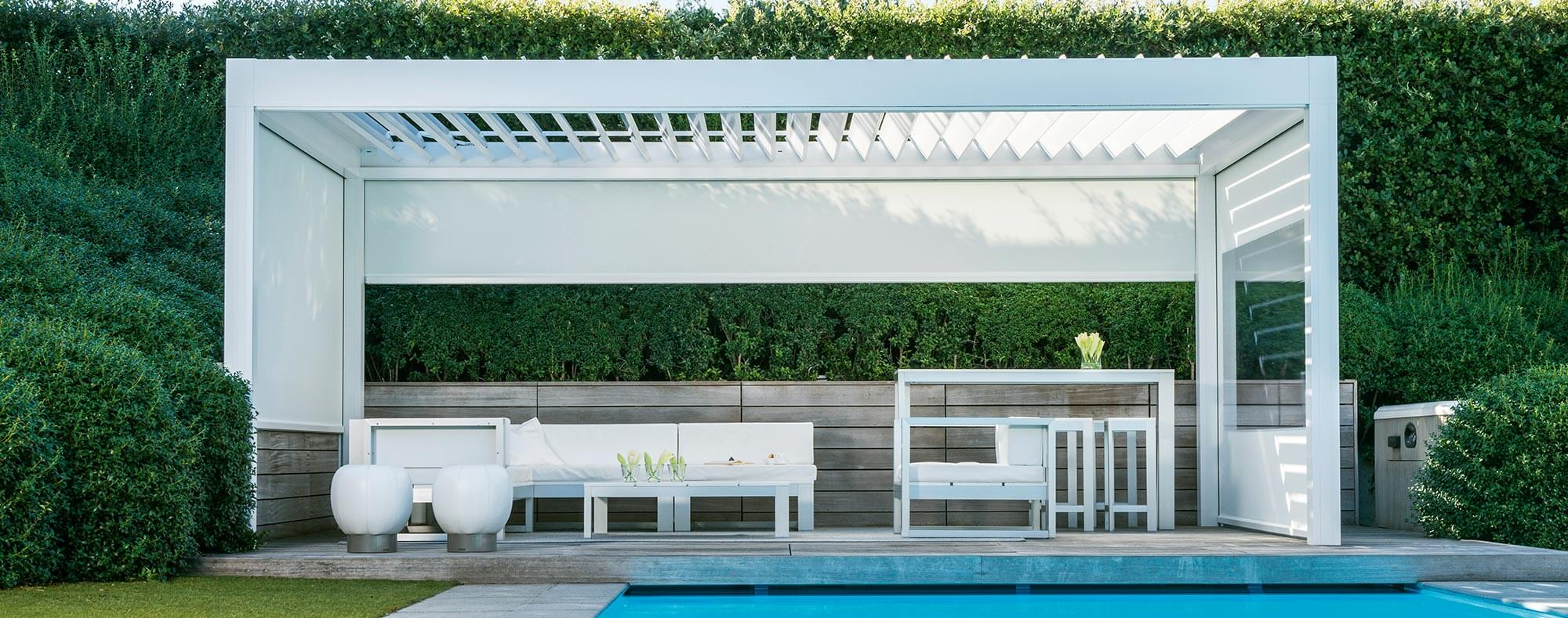 Electric sunshade by the pool