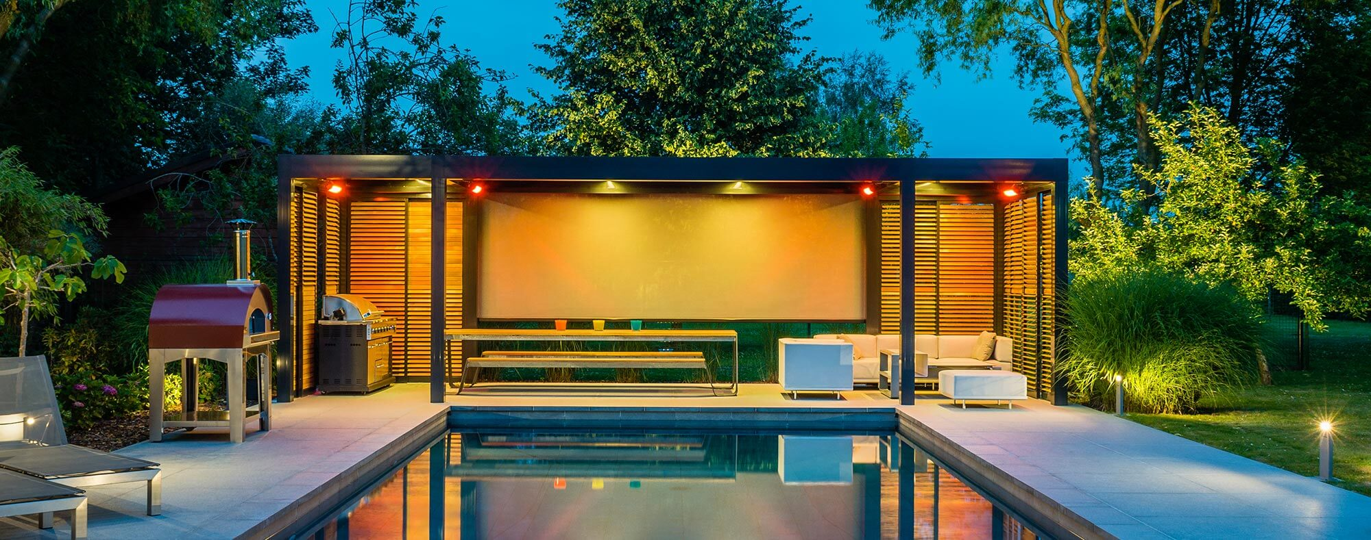 Luxury electric pergola shade by the pool