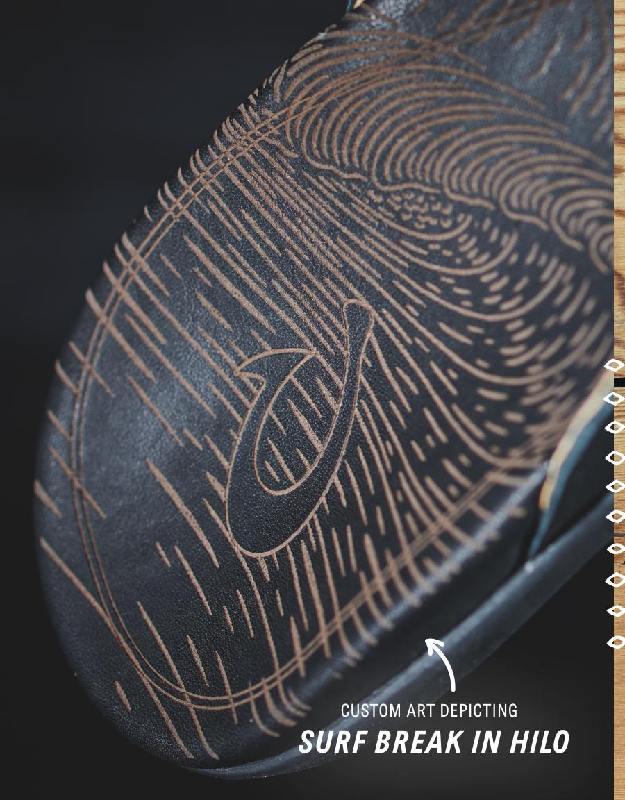 OluKai Honoliʻi Womenʻs Leather Sandals with custom art depicting surf break in Hilo