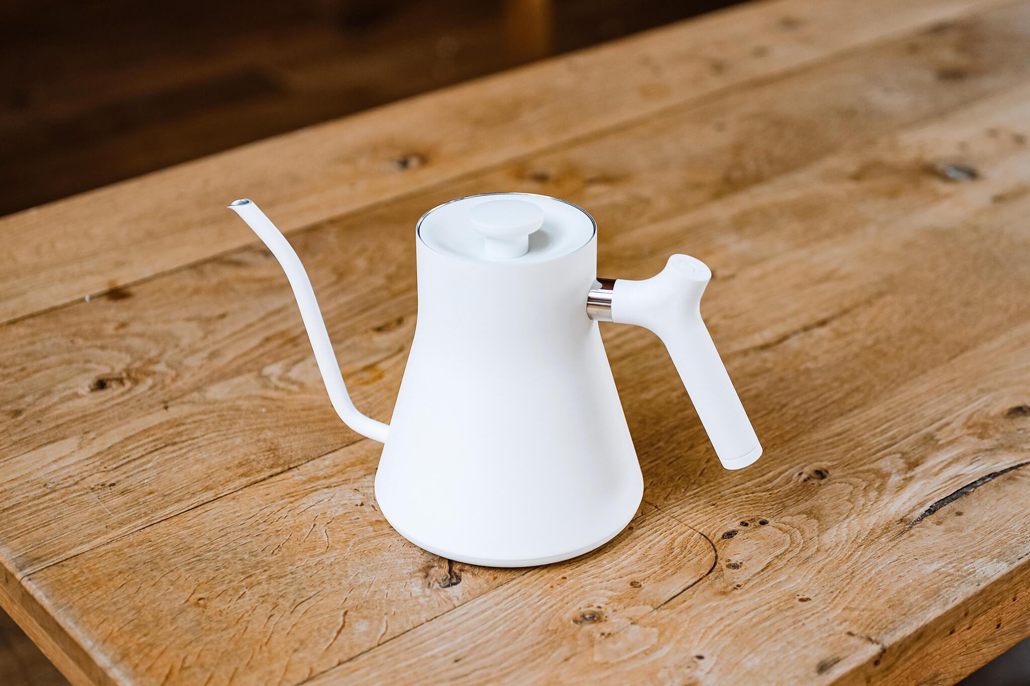 A white coffee kettle