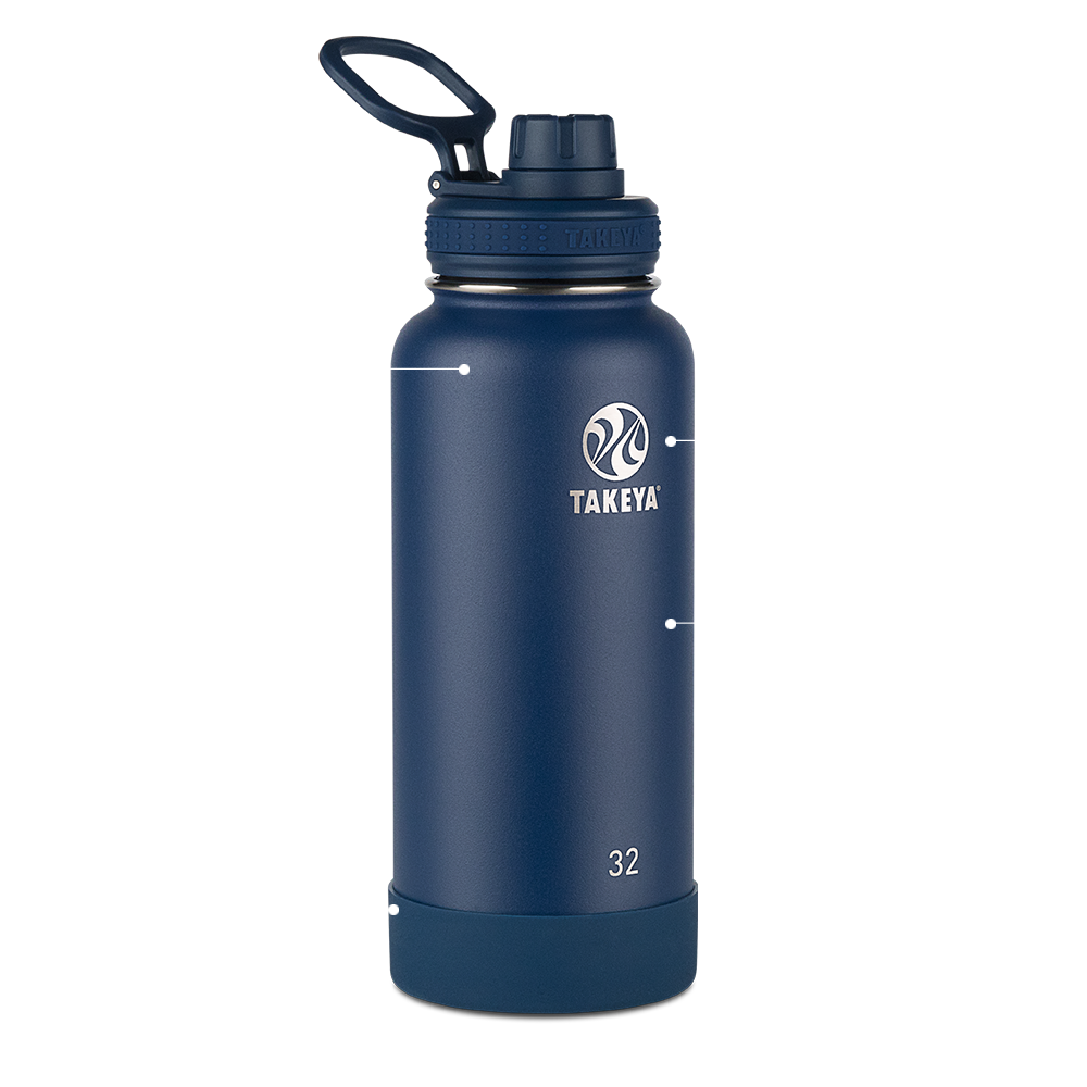 Thermo Flask Insulated Water Bottle with Protective Silicone Bumper 40oz 1.2L
