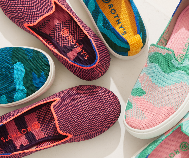 A pair of The Kids Loafer in Rose Double Stitch and a pair of The Kids Sneaker in Dolphin Blue and Cotton Candy, shown from the top against a cream background.