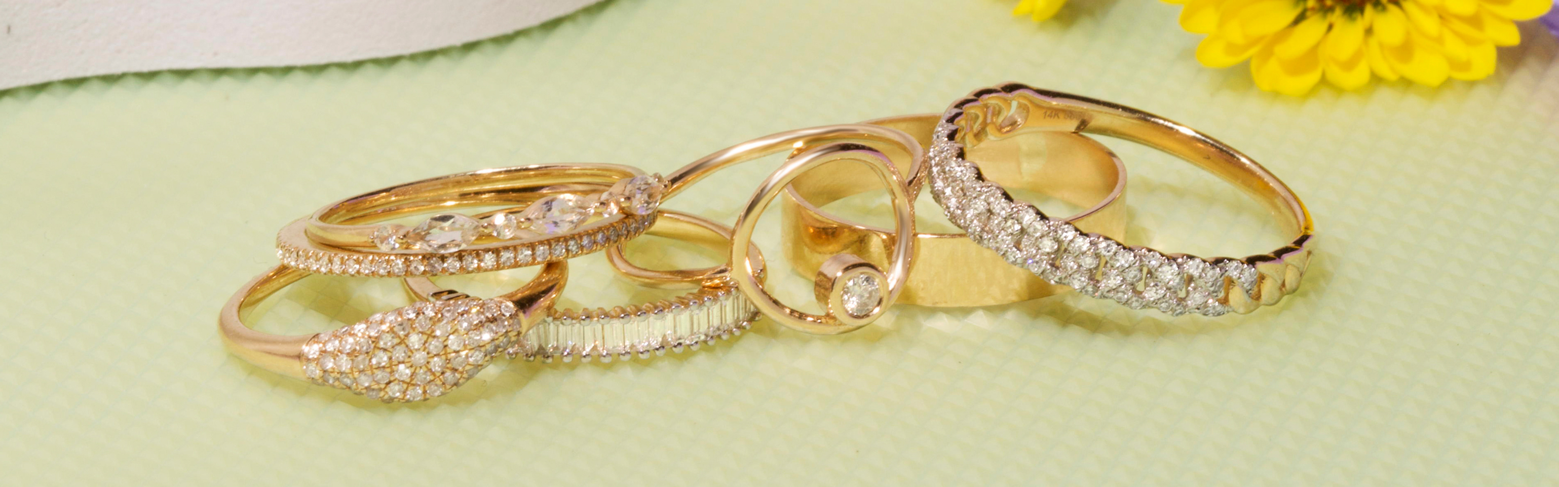 Solid Gold, Gemstone, and Diamond Rings