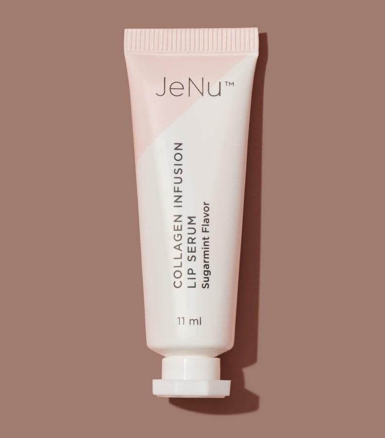 JeNu Collagen Infusion Lip Serum on Brown Background