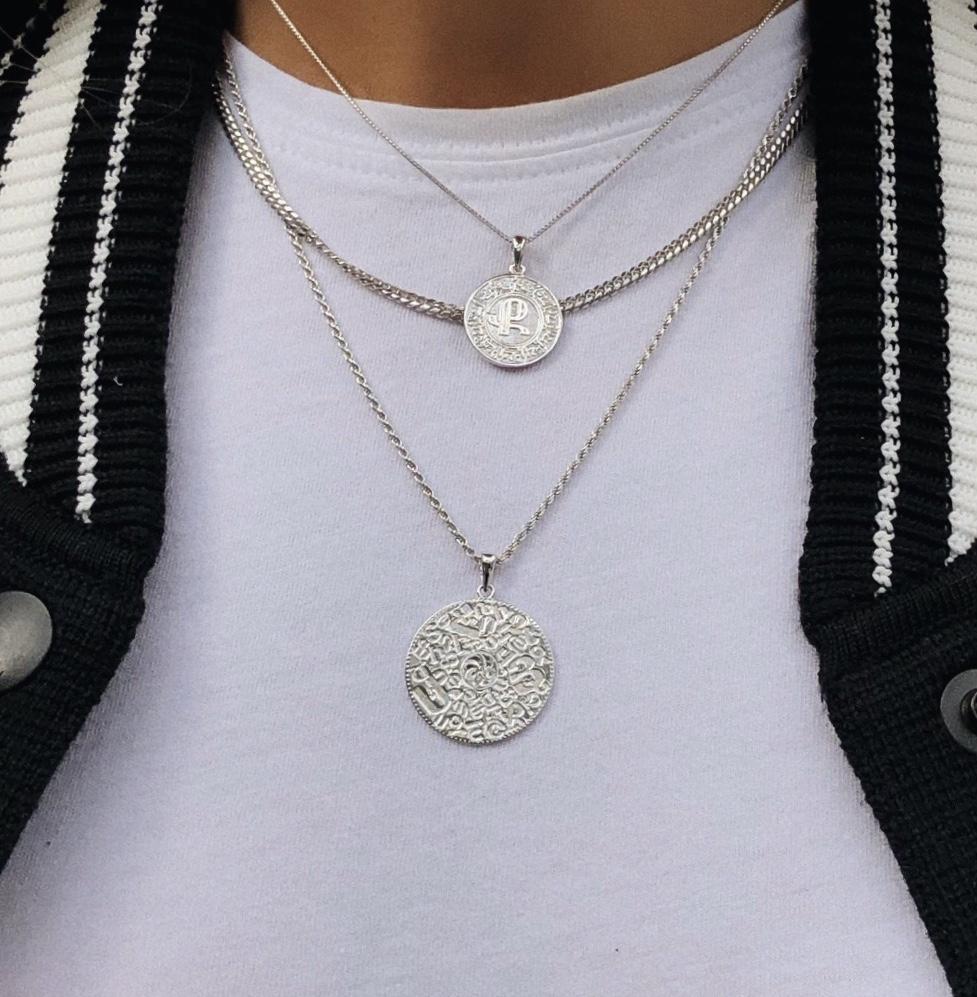 Multiple 14K Solid White Gold Armenian Alphabet Pendants