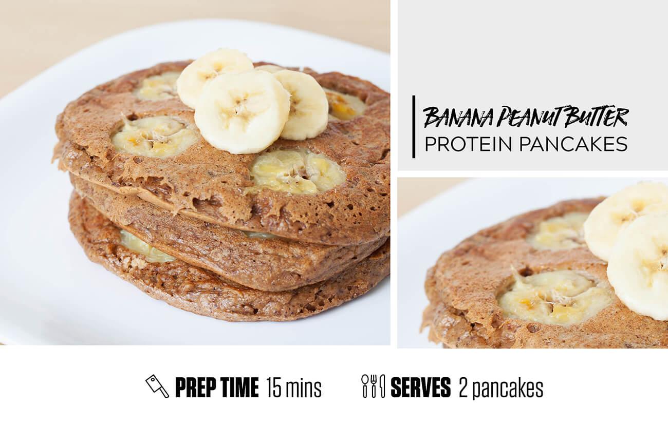 Banana + Peanut Butter Protein Pancakes
