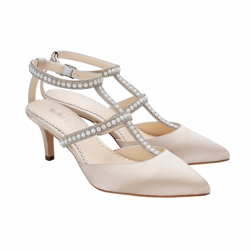 Courtney Crystals And Pearl T Strap Champagne Kitten Heel Bella Belle Bella Belle Shoes