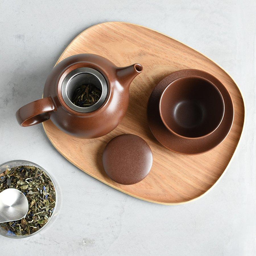 KINTO PEBBLE CUP & SAUCER BROWN