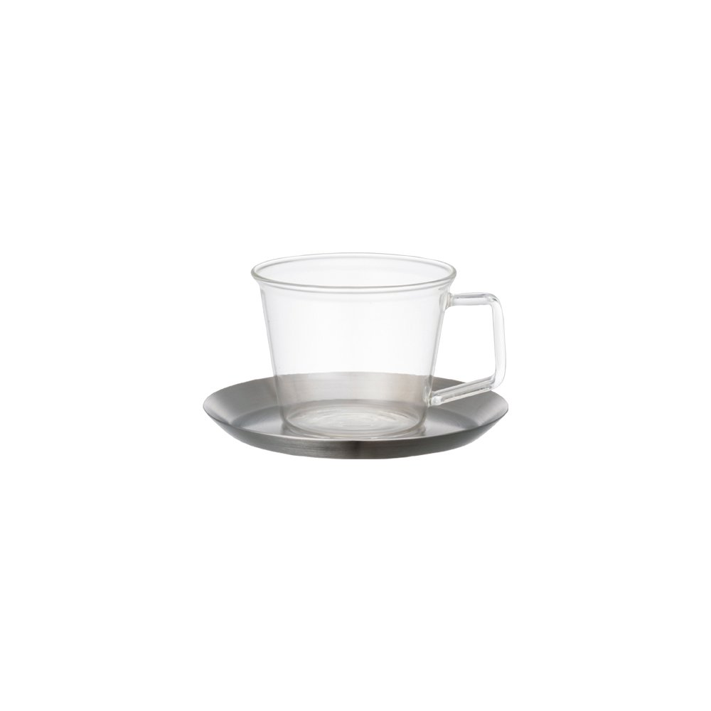 KINTO CAST COFFEE CUP & SAUCER STAINLESS STEEL THUMBNAIL 1